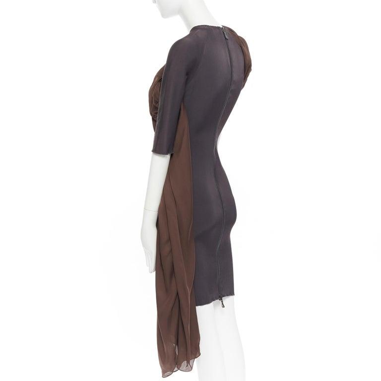 LANVIN SS11 dark brown viscose bodice asymmetric draped silk dress  FR36 S For Sale 2