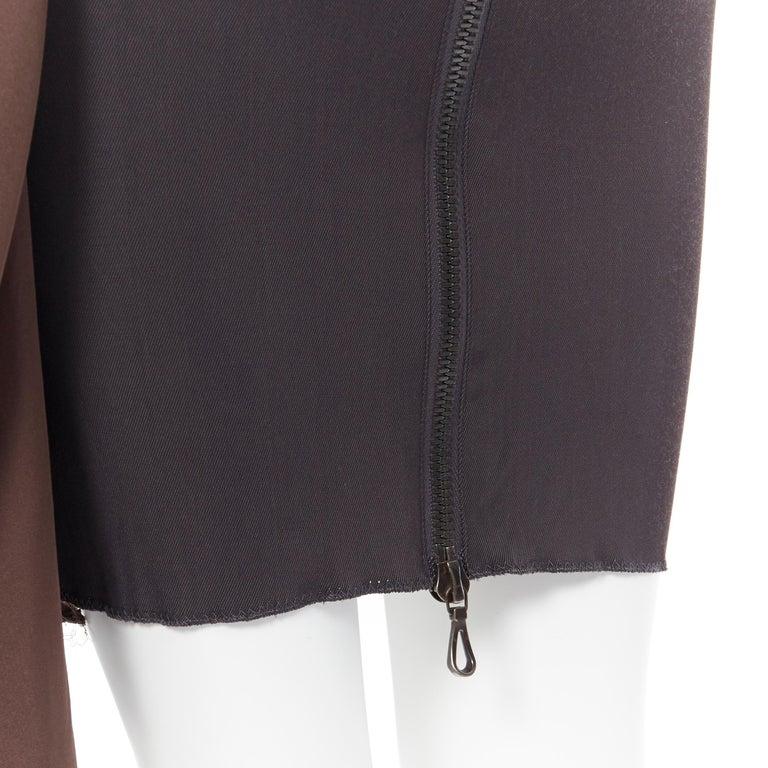 LANVIN SS11 dark brown viscose bodice asymmetric draped silk dress  FR36 S For Sale 4