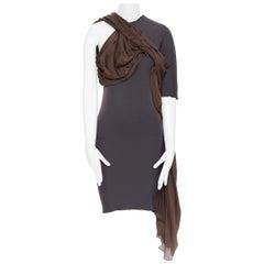 LANVIN SS11 dark brown viscose bodice asymmetric draped silk dress  FR36 S
