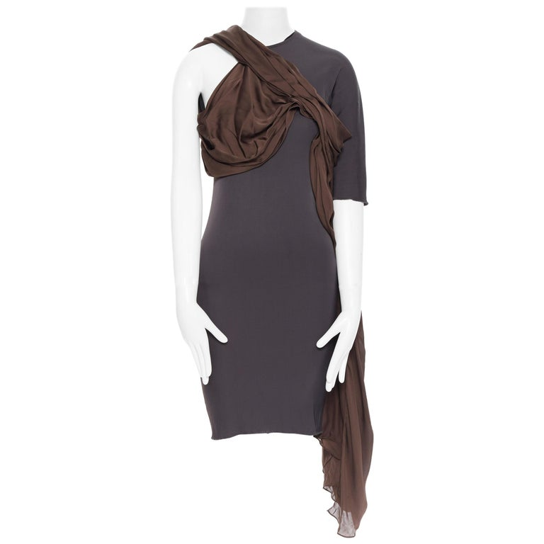 LANVIN SS11 dark brown viscose bodice asymmetric draped silk dress  FR36 S For Sale
