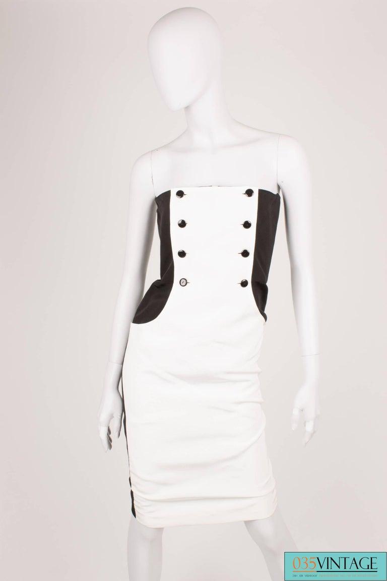 White Lanvin Strapless Dress Vintage - black & white 80's  For Sale