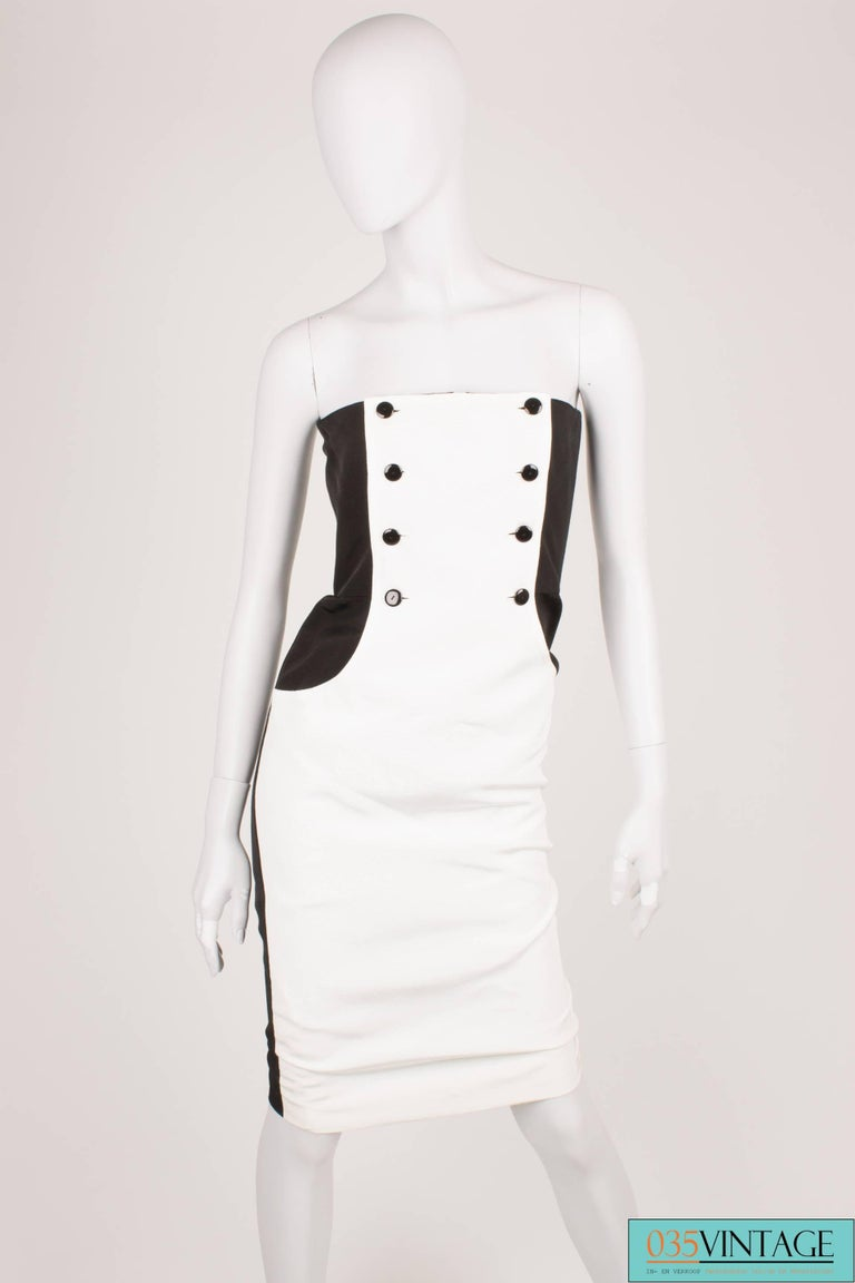 Lanvin Strapless Dress Vintage - black & white 80's  In Excellent Condition For Sale In Baarn, NL