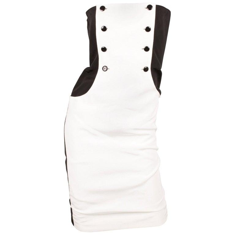 Lanvin Strapless Dress Vintage - black & white 80's  For Sale