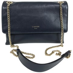 Lanvin Sugar Bag in Navy Blue Smooth Leather Gold Hardware
