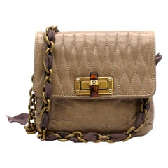 Lanvin Taupe Leather Happy Mini Pop Crossbody Bag One size