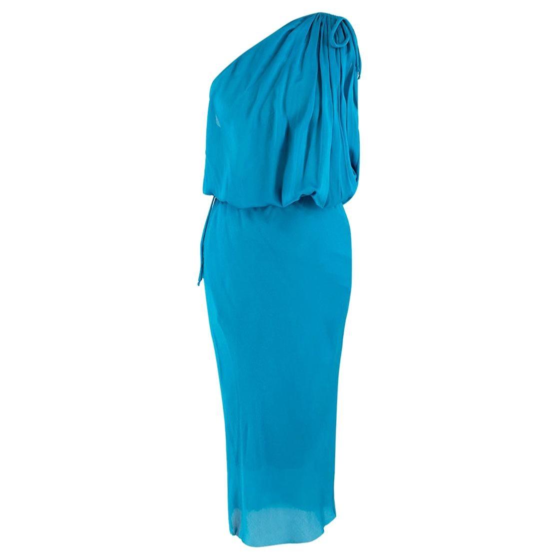 Lanvin Turquoise One-Shoulder Silk Dress - Size US 6