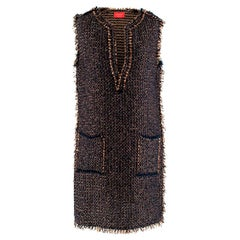 Lanvin Tweed Sleeveless Shift Dress - Size Small
