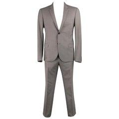 LANVIN US 42 Regular Plaid Grey Wool Blend Suit - SOMETHING WRONG WITH SIZING