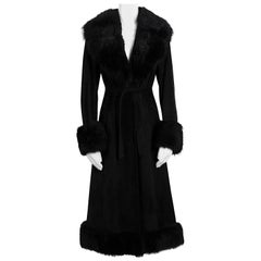 Lanvin vintage 1960s black suede belted coat with removable fur collar