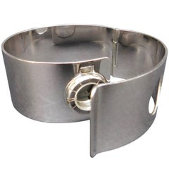 "Lanvin Vintage 1970 Silver Toned Metal Watch ""Bracelet De Force"" Cuff"