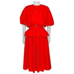 Lanvin vintage 1980s red cotton jacket and skirt summer set