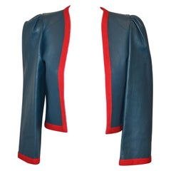 Lanvin Vintage Blue Grey Leather Jacket with Red Knit Trim