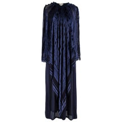 Lanvin Vintage Blue Silk-Blend Kimono Gown - Size Estimated S