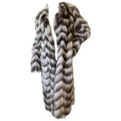 Lanvin Vintage Chevron Pattern Lightweight Feathered Fox Fur Coat