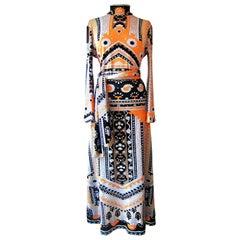 Lanvin Vintage Dress Multi Colour Gown With Belt 1970s