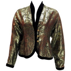 Lanvin Vintage Gold Brocade Black Velvet Smoking Jacket