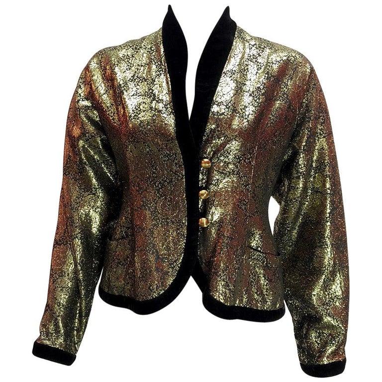 Lanvin Vintage Gold Brocade Black Velvet Smoking Jacket For Sale