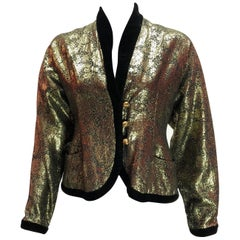 Lanvin Vintage Gold Lame and Black Velvet Jacket