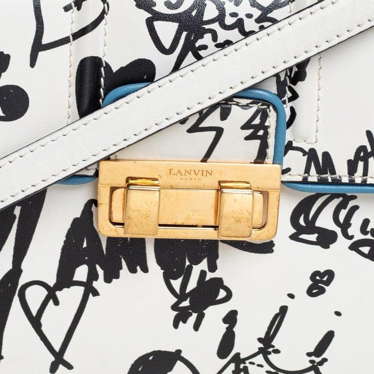 Lanvin White/Black Printed Leather Jiji Shoulder Bag For Sale 5