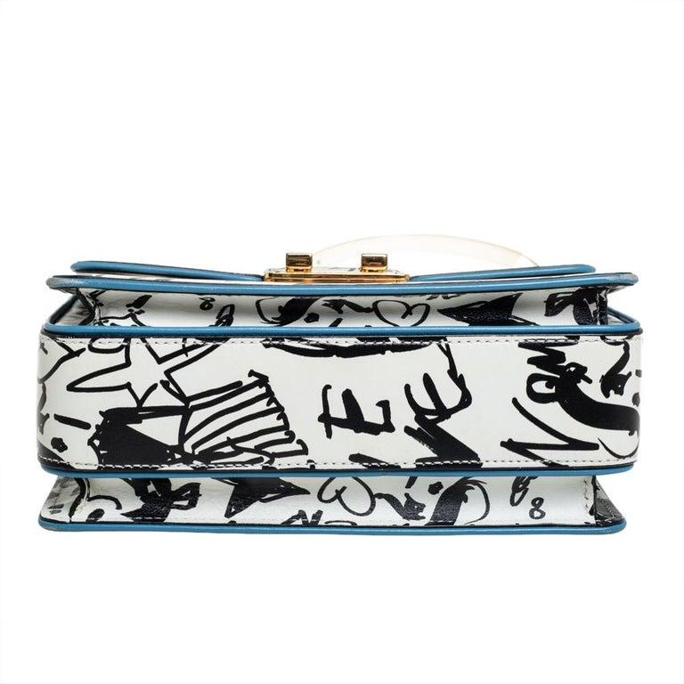 Women's Lanvin White/Black Printed Leather Jiji Shoulder Bag For Sale