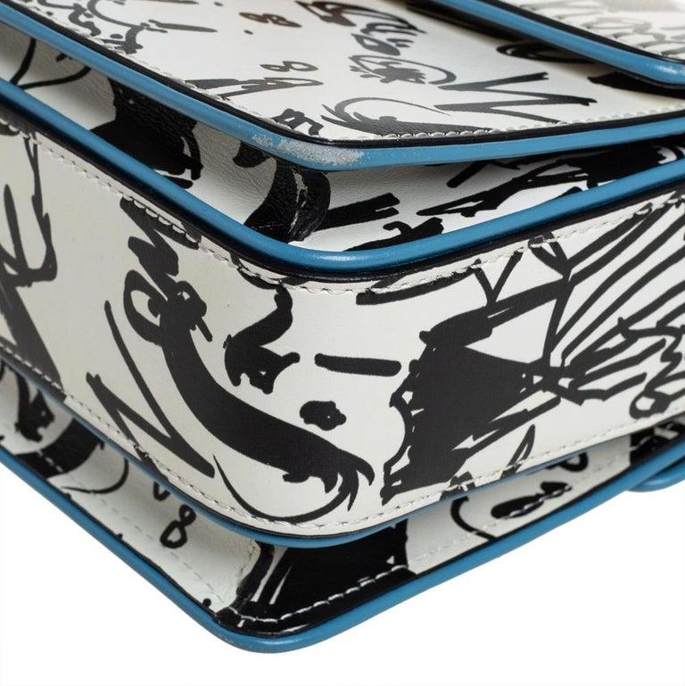 Lanvin White/Black Printed Leather Jiji Shoulder Bag For Sale 3