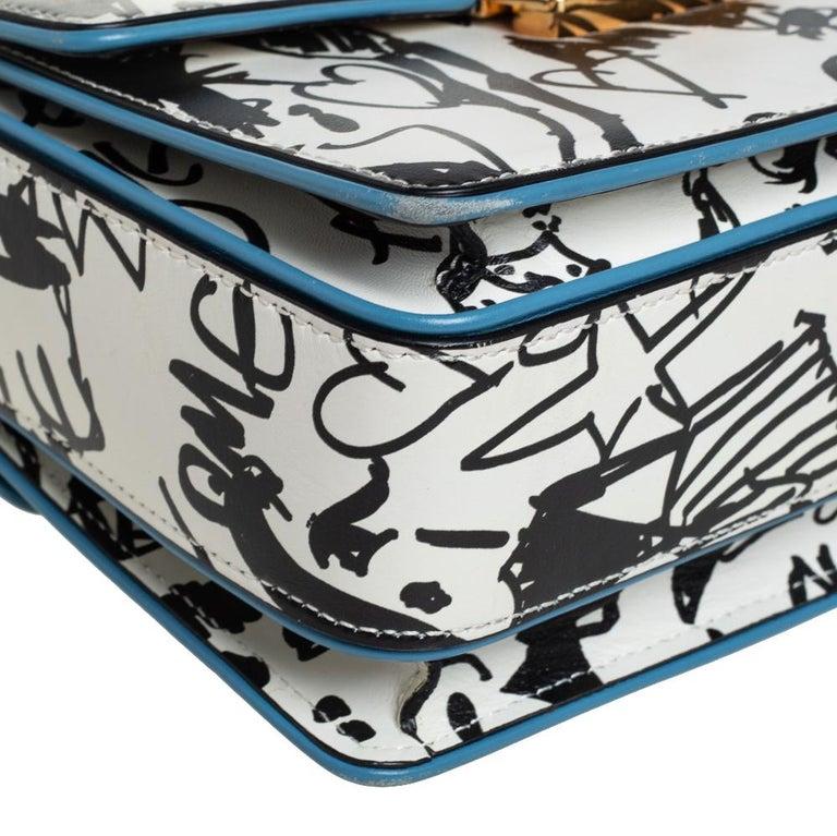 Lanvin White/Black Printed Leather Jiji Shoulder Bag For Sale 4