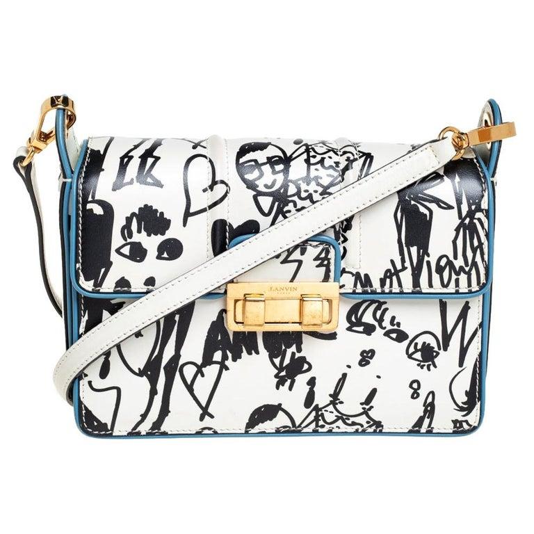 Lanvin White/Black Printed Leather Jiji Shoulder Bag For Sale