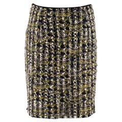 Lanvin Wool Tweed Green & Black Skirt M 40