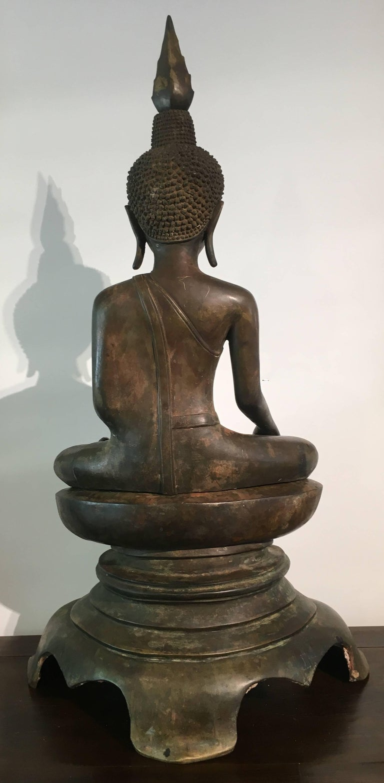 Laotian Lao Cast Bronze Shakyamuni Buddha, 17th-18th Century For Sale