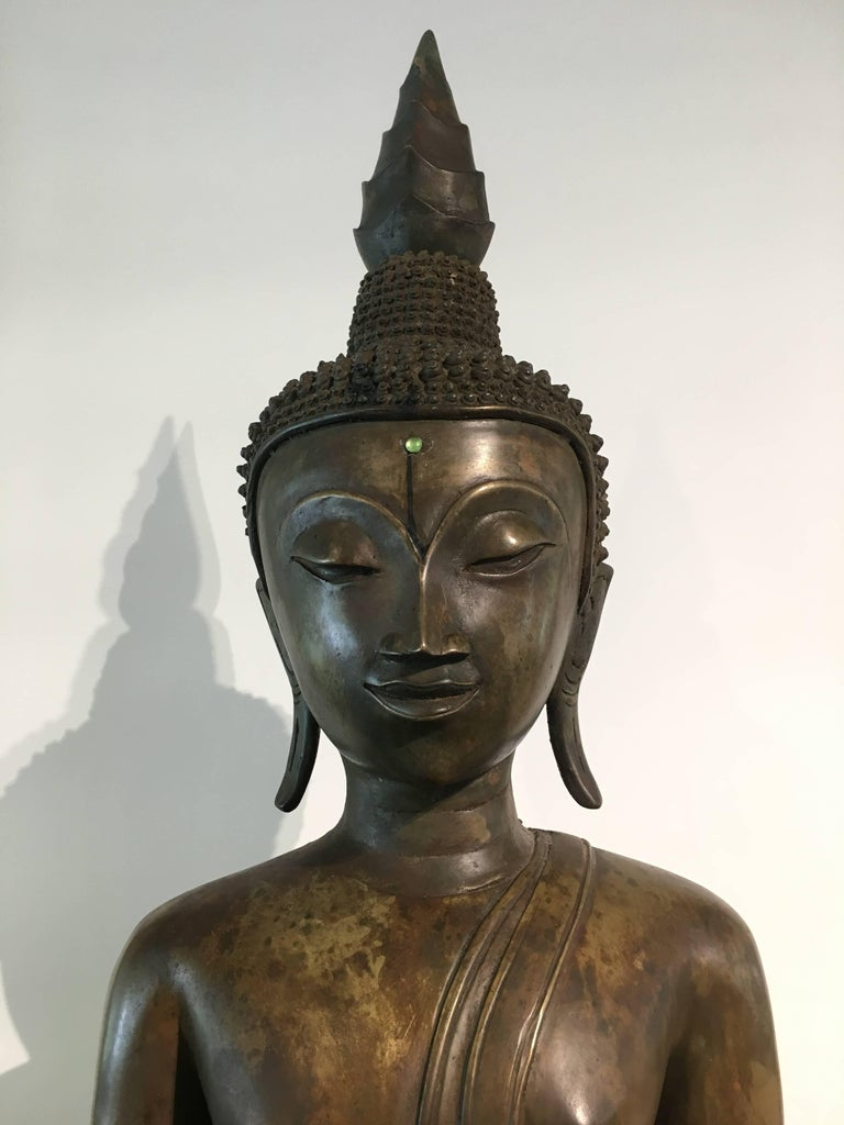 Lao Cast Bronze Shakyamuni Buddha, 17th-18th Century For Sale 4