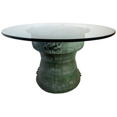 Laotian Rain Green Drum Dining Table with Glass Top, Laos