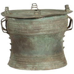 Laotian Style Vintage Bronze Rain Drum with Geometric Motifs and Verde Patina