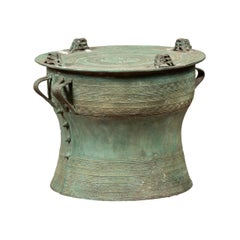 Laotian Vintage Bronze Rain Drum with Geometric Motifs and Lateral Handles