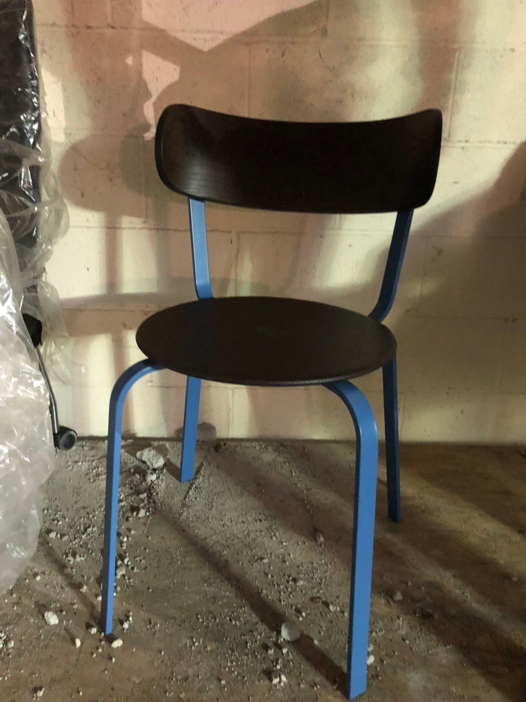 LaPalma Black and Blue Steel Chair In Good Condition For Sale In New York, NY