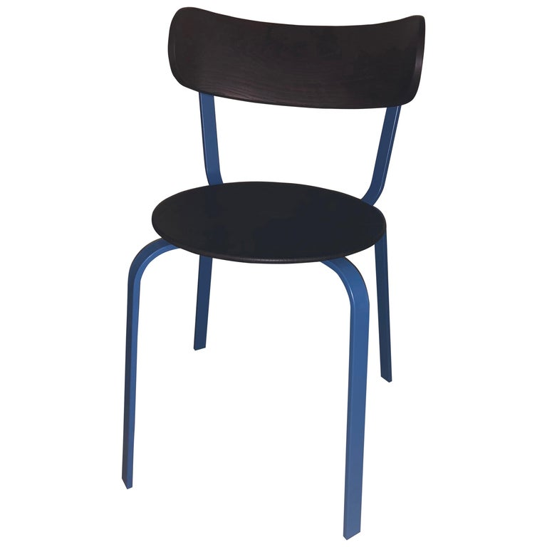 LaPalma Black and Blue Steel Chair For Sale