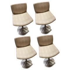 LaPalma Set of Three Swivel Adjustable Leather Kai Stools