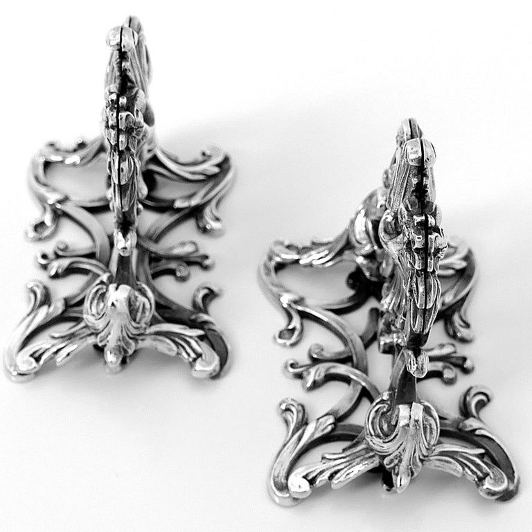 Lapar Rare French All Sterling Silver Menu, Place, Name Holders, Pair For Sale 5