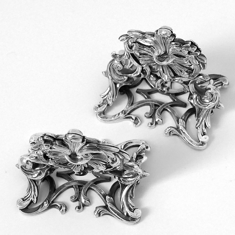 Lapar Rare French All Sterling Silver Menu, Place, Name Holders, Pair For Sale 6