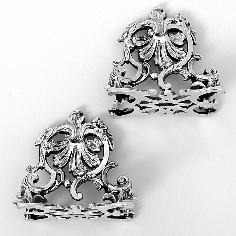 Lapar Rare French All Sterling Silver Menu, Place, Name Holders, Pair For Sale 1