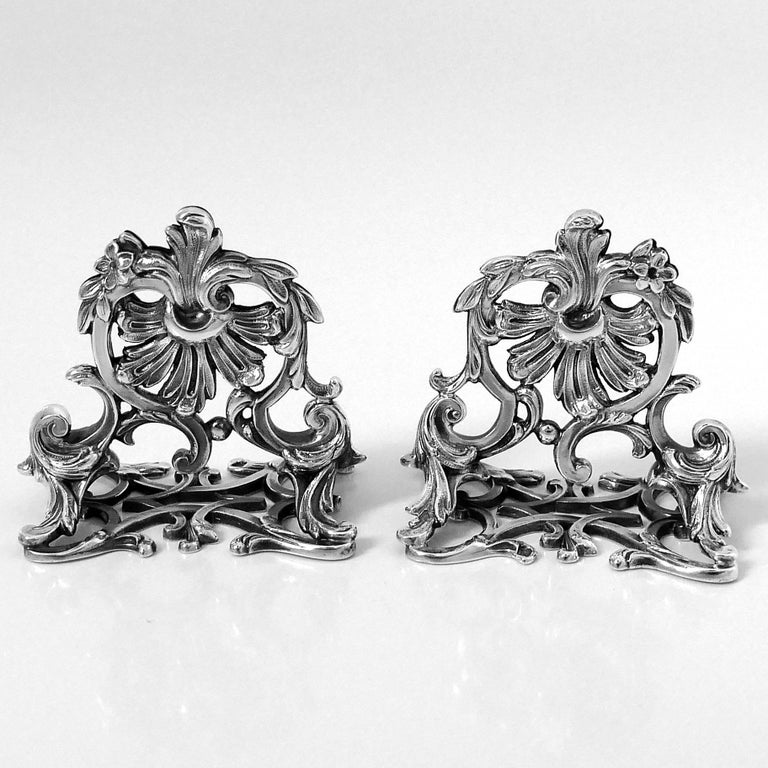 Lapar Rare French All Sterling Silver Menu, Place, Name Holders, Pair For Sale 2