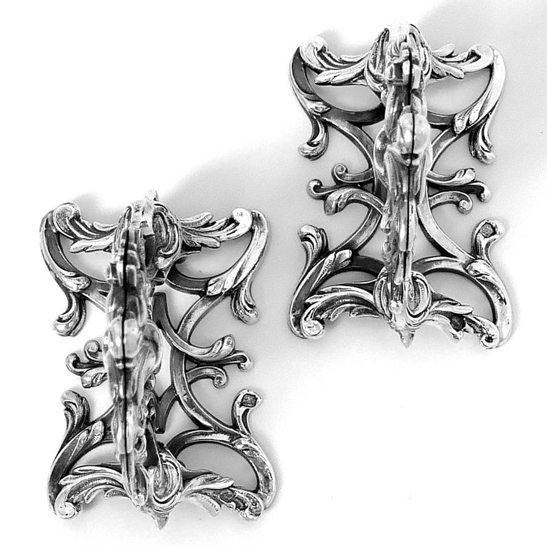 Lapar Rare French All Sterling Silver Menu, Place, Name Holders, Pair For Sale 3