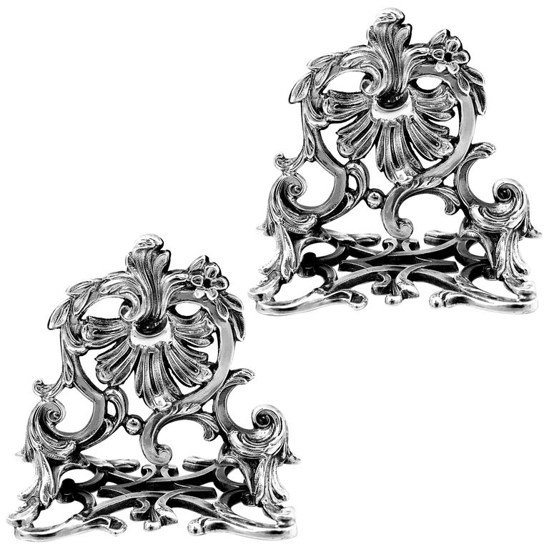 Lapar Rare French All Sterling Silver Menu, Place, Name Holders, Pair For Sale
