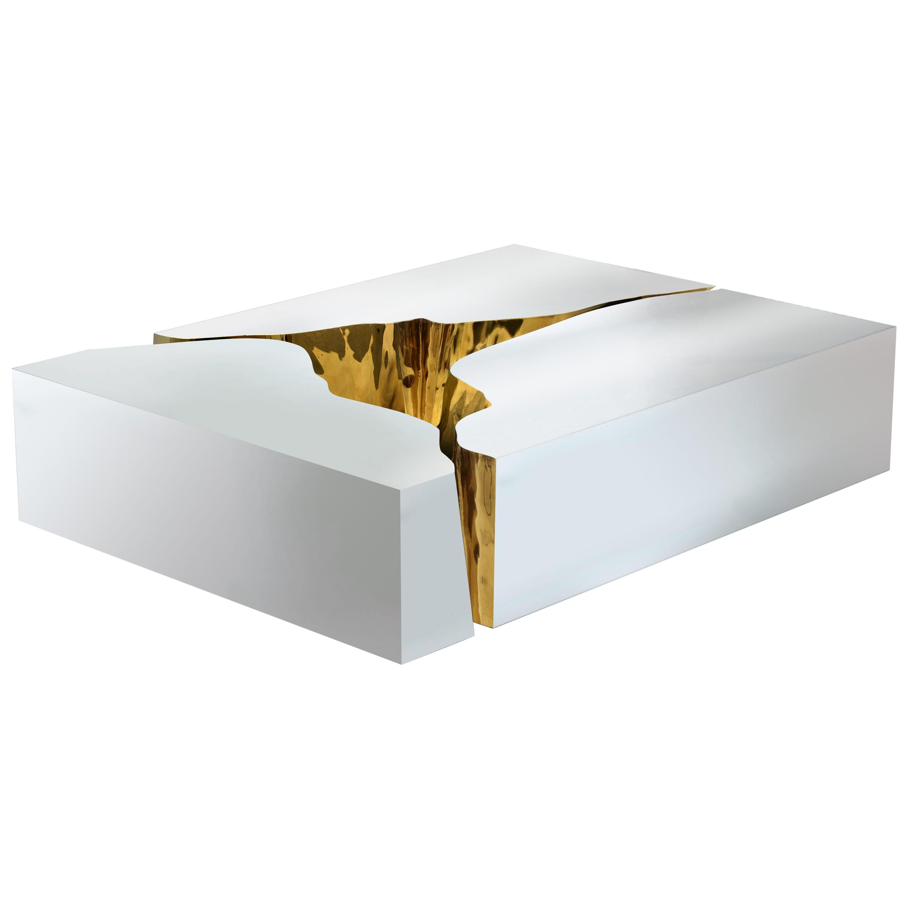 Lapiaz Coffee Table with Black or White Finish and Brass Detail