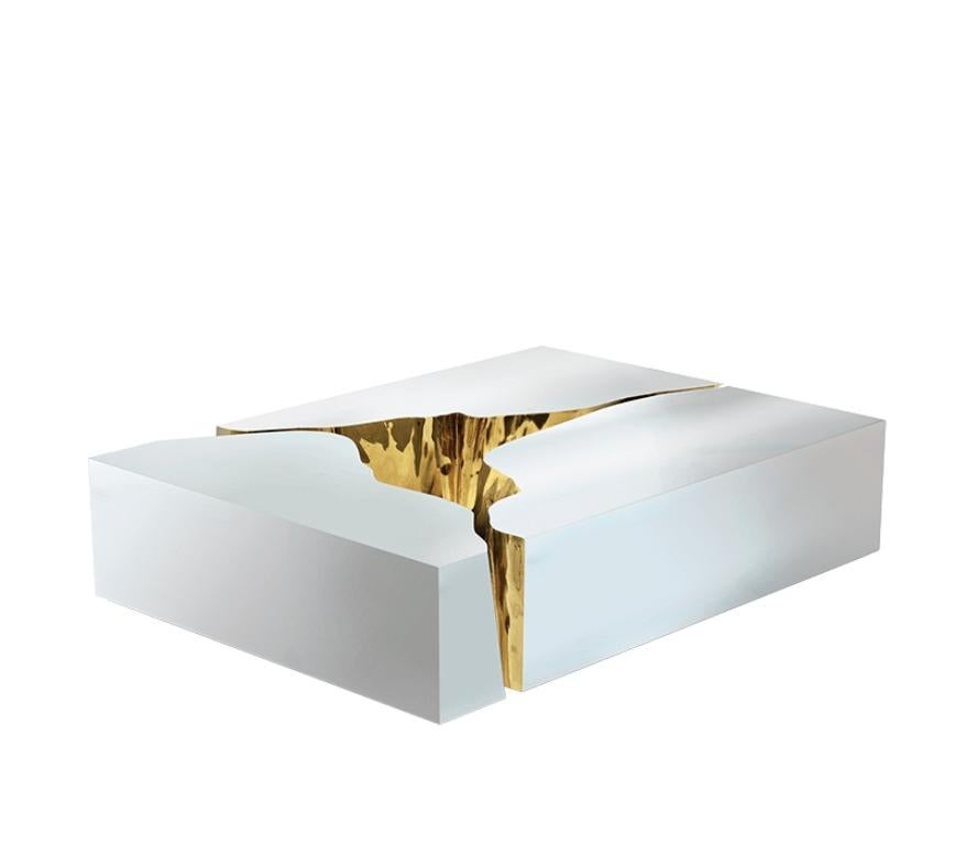Lapiaz Coffee Table with Polished Stainless Steel and Brass by Boca do Lobo