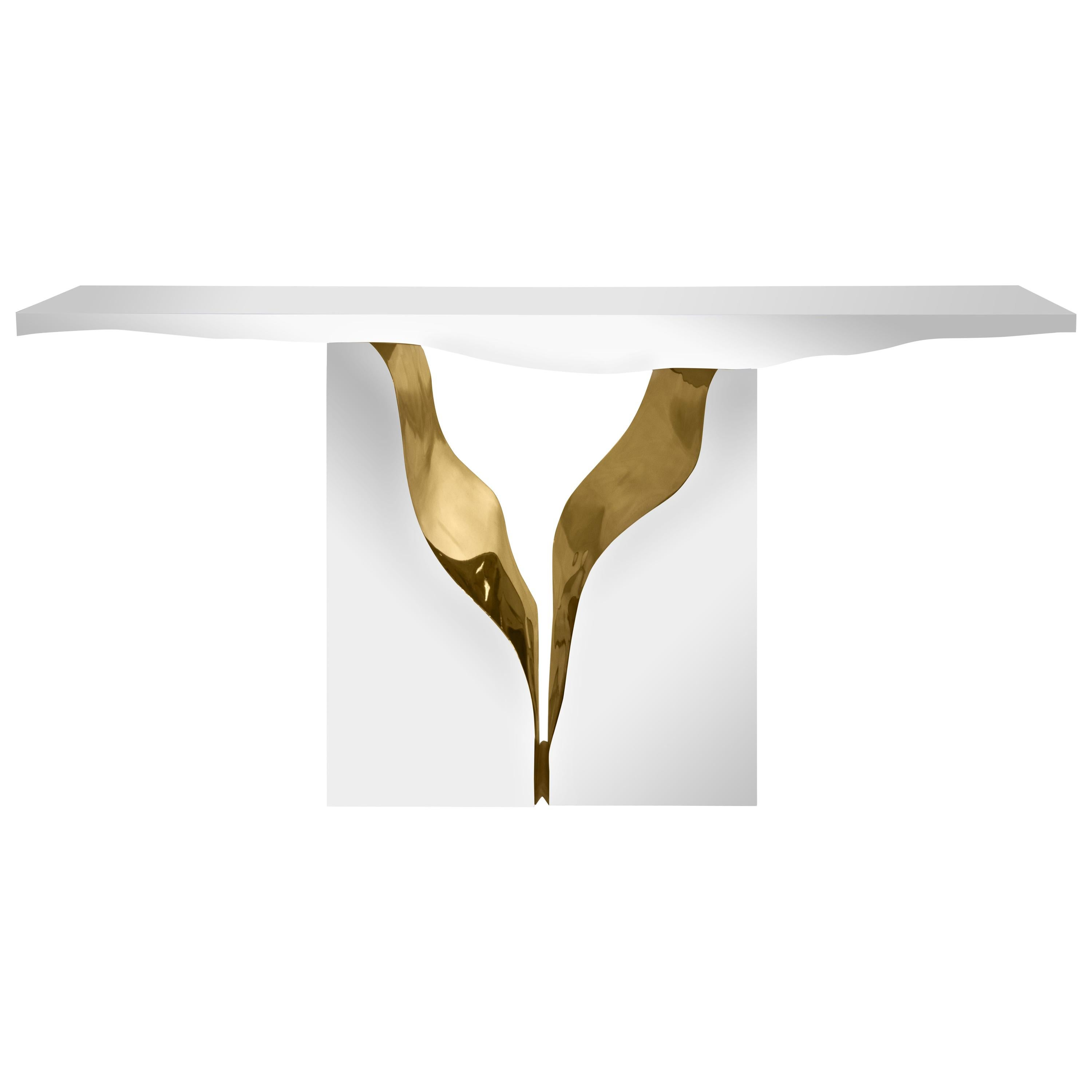 Lapiaz Console in Polished Stainless Steel by Boca do Lobo