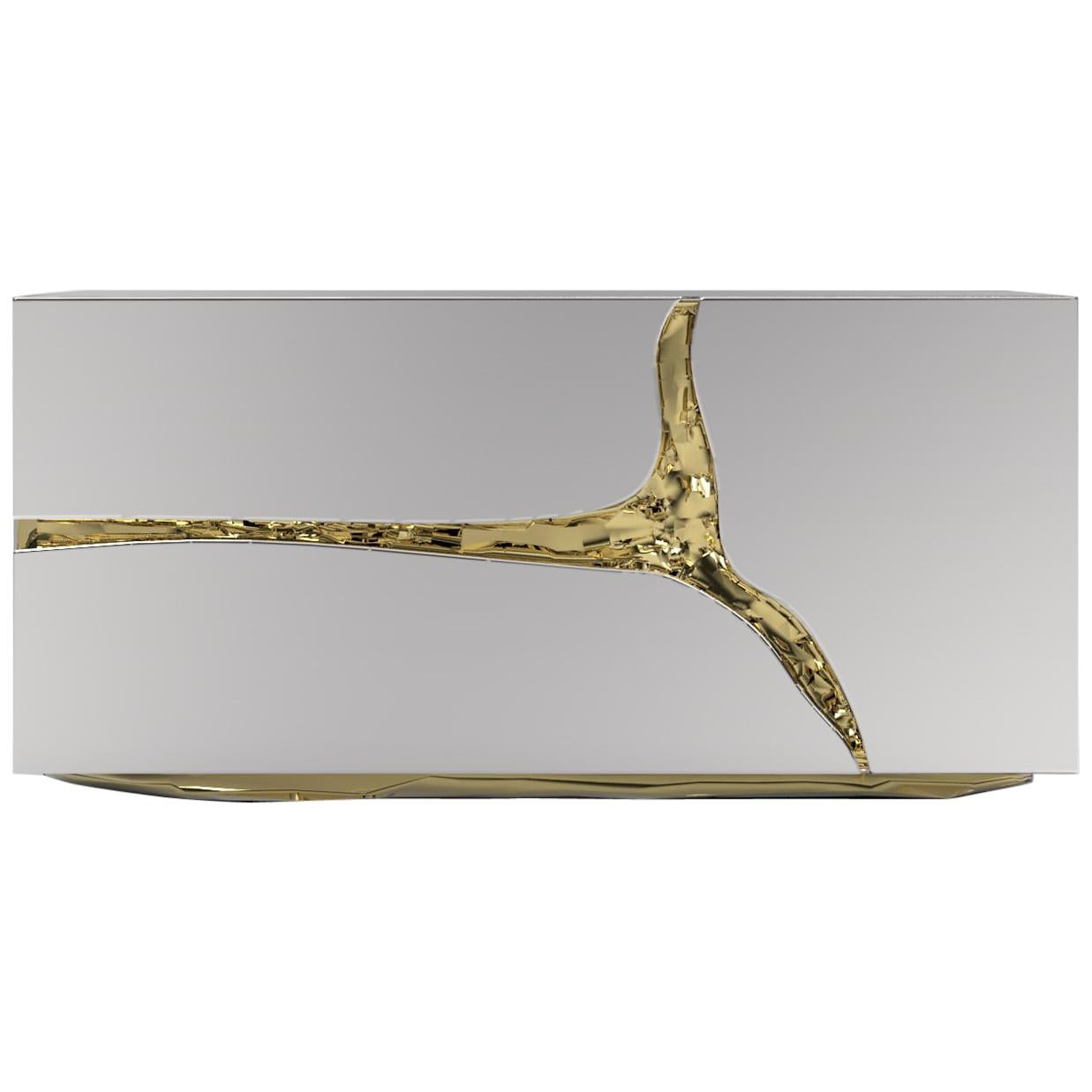Lapiaz Nightstand in Polished Stainless Steel and Brass Details