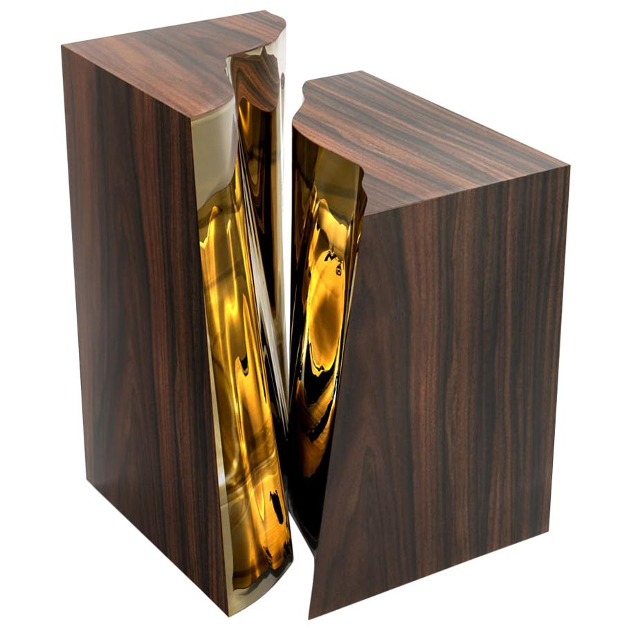 Lapiaz Side Table with Wood Veneer and Polished Brass