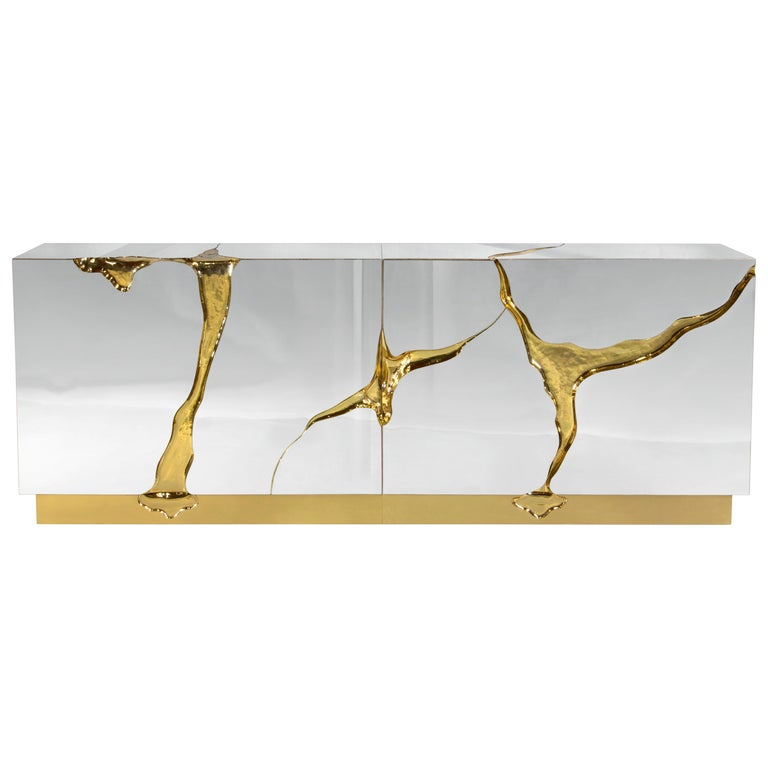 Lapiaz Sideboard In Stainless Steel With Gold Detail For Sale At 1stdibs