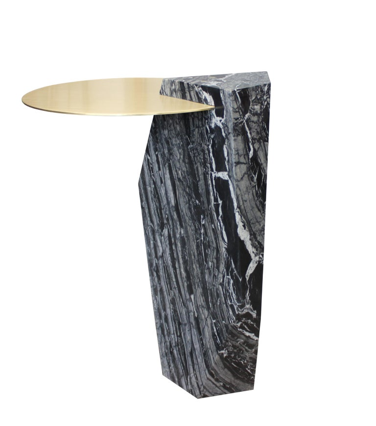 Lapidary Sculptural Drinks Table in Solid Kenya Black Marble For Sale 1