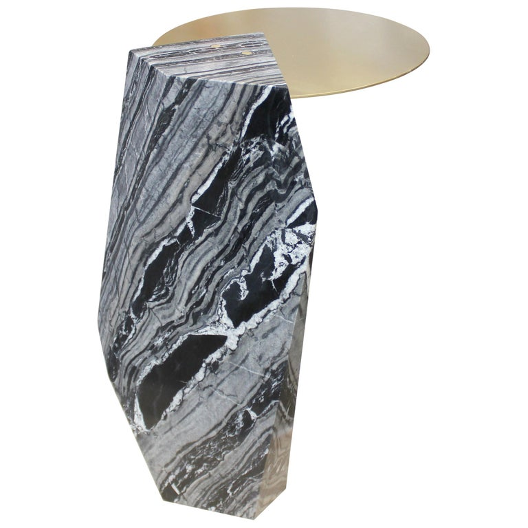 Modern Lapidary Sculptural Drinks Table in Solid Kenya Black Marble For Sale